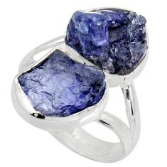 925 silver 12.96cts natural blue iolite rough fancy solitaire ring size 8 r15060