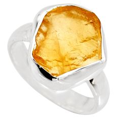 6.38cts yellow citrine rough 925 silver solitaire ring jewelry size 7 r15061