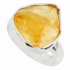 7.15cts yellow citrine rough 925 silver solitaire ring jewelry size 7 r15062