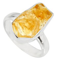 7.04cts yellow citrine rough 925 silver solitaire ring jewelry size 8 r15063