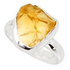 925 silver 6.39cts yellow citrine rough solitaire ring jewelry size 8 r15064