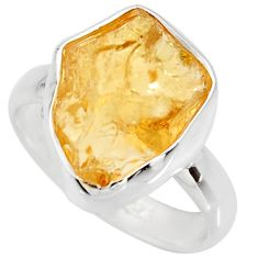 5.84cts yellow citrine rough 925 silver solitaire ring jewelry size 5 r15065