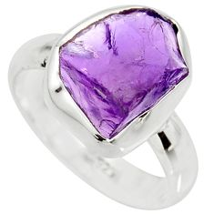 6.38cts natural purple amethyst rough 925 silver solitaire ring size 8 r15066