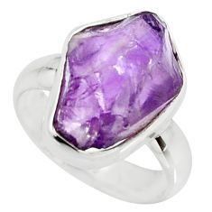 7.50cts natural purple amethyst rough 925 silver solitaire ring size 7 r15068