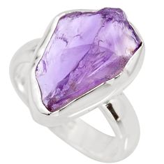 6.38cts natural purple amethyst rough 925 silver solitaire ring size 6 r15072