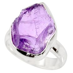 925 silver 7.50cts natural purple amethyst rough solitaire ring size 6 r15073