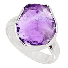 6.83cts natural purple amethyst rough 925 silver solitaire ring size 7.5 r15076
