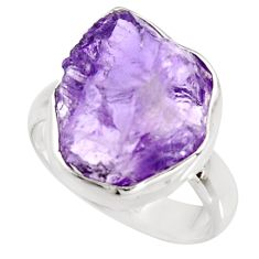 925 silver 8.77cts natural purple amethyst rough solitaire ring size 8.5 r15077