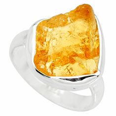 7.50cts yellow citrine rough 925 silver solitaire ring jewelry size 6.5 r15081