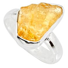 6.51cts yellow citrine rough 925 silver solitaire ring jewelry size 8 r15082