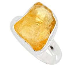 925 silver 7.33cts yellow citrine rough solitaire ring jewelry size 8 r15084