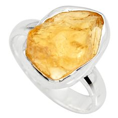 7.33cts yellow citrine rough 925 silver solitaire ring jewelry size 7.5 r15085