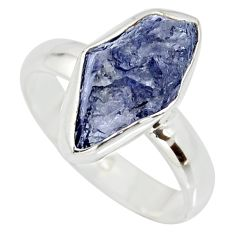 6.27cts natural blue iolite rough 925 silver solitaire ring size 8 r15103