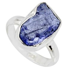 925 silver 5.64cts natural blue iolite rough fancy solitaire ring size 7 r15104