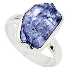 6.72cts natural blue iolite rough 925 silver solitaire ring size 8 r15105
