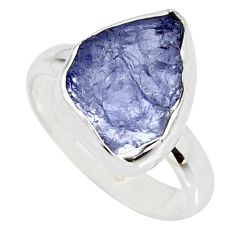 4.89cts natural blue iolite rough 925 silver solitaire ring size 6 r15106