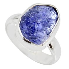 5.95cts natural blue iolite rough 925 silver solitaire ring size 6.5 r15107