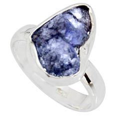 6.26cts natural blue iolite rough 925 silver solitaire ring size 8 r15108
