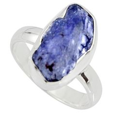 925 silver 5.45cts natural blue iolite rough fancy solitaire ring size 6 r15109