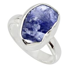 5.17cts natural blue iolite rough 925 silver solitaire ring size 6 r15110