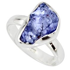 5.94cts natural blue iolite rough 925 silver solitaire ring size 8 r15111