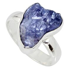 5.96cts natural blue iolite rough 925 silver solitaire ring size 7 r15112