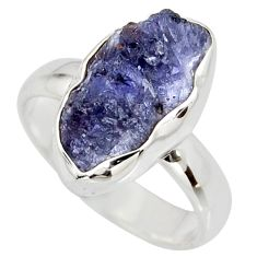 5.96cts natural blue iolite rough 925 silver solitaire ring size 7 r15113