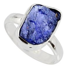 925 silver 5.42cts natural blue iolite rough solitaire ring size 6.5 r15114