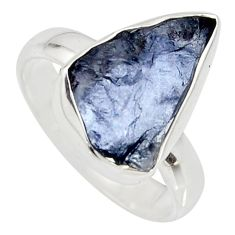 5.84cts natural blue iolite rough 925 silver solitaire ring size 8 r15115