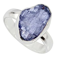 6.39cts natural blue iolite rough 925 silver solitaire ring size 8 r15116