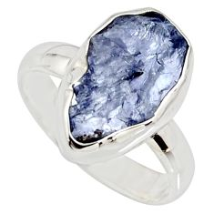 5.22cts natural blue iolite rough 925 silver solitaire ring size 6 r15117