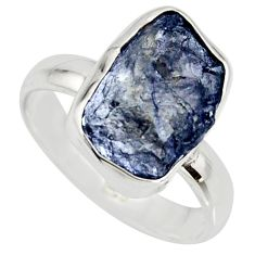 925 silver 5.84cts natural blue iolite rough fancy solitaire ring size 7 r15118