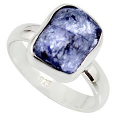 6.27cts natural blue iolite rough 925 silver solitaire ring size 8 r15119