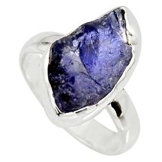7.17cts natural blue iolite rough 925 silver solitaire ring size 7 r15120