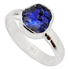 4.80cts natural blue sapphire rough 925 silver solitaire ring size 8 r15121