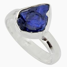 5.06cts natural blue sapphire rough 925 silver solitaire ring size 7.5 r15122