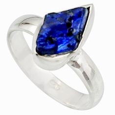 5.54cts natural blue sapphire rough 925 silver solitaire ring size 8 r15123