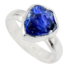 5.06cts natural blue sapphire rough 925 silver solitaire ring size 7 r15125