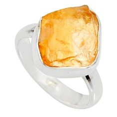 5.54cts yellow citrine rough 925 silver solitaire ring jewelry size 6 r15142
