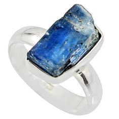 6.54cts natural blue kyanite rough 925 silver solitaire ring size 8 r15148