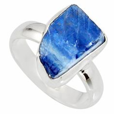 6.57cts natural blue kyanite rough 925 silver solitaire ring size 7 r15149