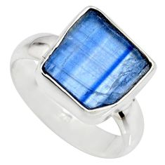 5.96cts natural blue kyanite rough 925 silver solitaire ring size 8 r15151