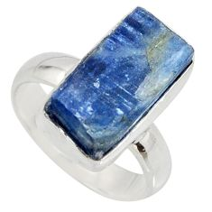 6.83cts natural blue kyanite rough 925 silver solitaire ring size 6 r15152