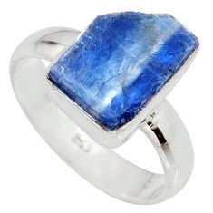 6.48cts natural blue kyanite rough 925 silver solitaire ring size 8.5 r15155