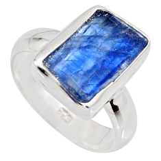 5.95cts natural blue kyanite rough 925 silver solitaire ring size 6 r15156
