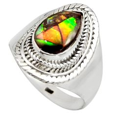 925 silver 4.22cts natural multi color ammolite solitaire ring size 9 r15384