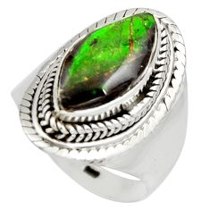 5.63cts natural multi color ammolite 925 silver solitaire ring size 7 r15386
