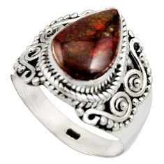 925 silver 4.23cts natural multi color ammolite solitaire ring size 7 r15391