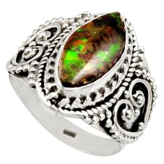 5.29cts natural multi color ammolite 925 silver solitaire ring size 7 r15396