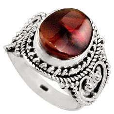 925 silver 5.27cts natural mexican fire agate solitaire ring size 6.5 r15412